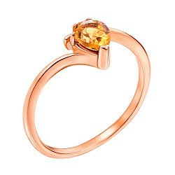 Кольцо из красного золота с цитрином 000131304