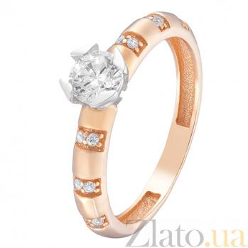 Кольцо в красном и белом золоте Таисия с фианитами 000023842