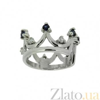 Золотая серьга-кафф с сапфирами и бриллиантами Княжна ZMX--EDS-6938w_K