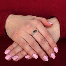 Серебряное кольцо Арлина с гранатом и зеленым кварцем