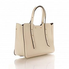 Кожаная деловая сумка Genuine Leather 8920 бежевого цвета с фигурными краями и мелкими заклепками