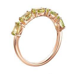 Кольцо из красного золота с хризолитами 000137317