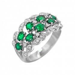 Кольцо из белого золота Адела с изумрудами и бриллиантами