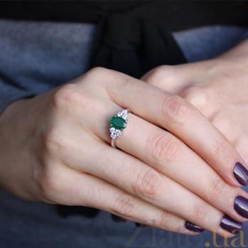 Серебряное кольцо Шарлиз с гидротермальным изумрудом и фианитами 000032397