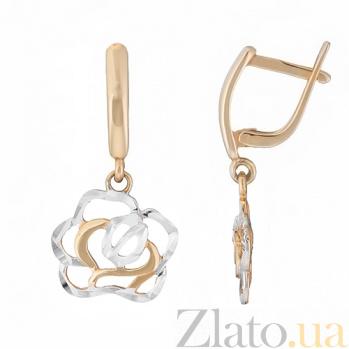 Серьги-подвески в двух цветах золота Ажурные розы 21042