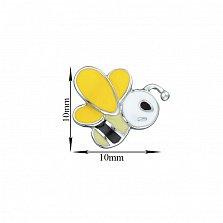 Детские сережки-пуссеты Пчелка с желто-черной эмалью