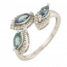 Серебряные кольцо Ванесса с топазом лондон и фианитами