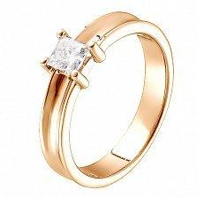 Кольцо из красного золота с бриллиантом огранки Принцесса