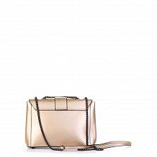 Кожаный клатч Genuine Leather 8854 цвета розовое шампанское с плечевым ремнем