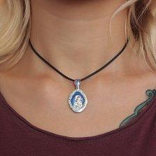 Серебряная ладанка Пресвятая Богородица Владимирская с синей и белой эмалью