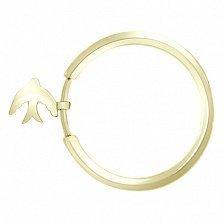 Кольцо из желтого золота с подвеской Свобода