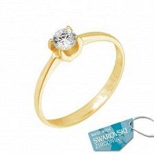 Кольцо из желтого золота Оливия с кристаллом Swarovski
