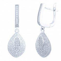 Серебряные серьги-подвески Зефирайн с фианитами