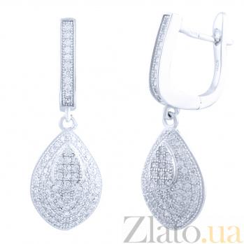 Серебряные серьги-подвески Зефирайн с фианитами 000077886