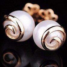 Золотые серьги-пуссеты с жемчугом Кейси