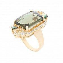 Дизайнерский узорный перстень Монна с празиолитом (зеленым кварцем) и фианитами