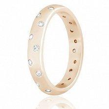 Позолоченное кольцо из серебра Идеалита с фианитами