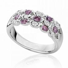 Кольцо Argile из белого золота с бриллиантами и розовыми сапфирами