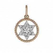Кулон из красного и белого золота Звезда Давида с бриллиантами