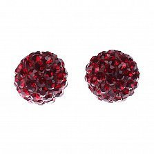 Серебряные пуссеты-шары Блеск с красными кристаллами Swarovski