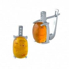Серебряные серьги Солнечный мед с янтарем и фианитами