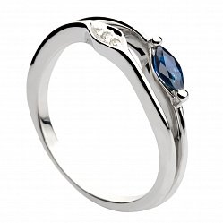 Кольцо из белого золота с сапфиром и бриллиантами Феодора