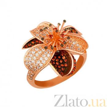 Золотое кольцо Лотос в комбинированном цвете с красными и белыми фианитами VLT--ТТ1017-2