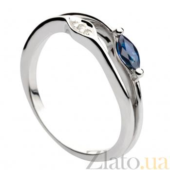Кольцо из белого золота с сапфиром и бриллиантами Феодора 000030359
