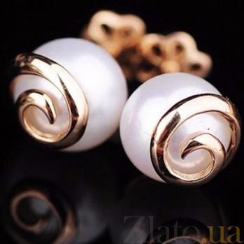 Золотые серьги-пуссеты с жемчугом Кейси ONX--с01440