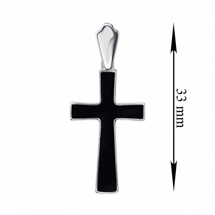 Серебряный декоративный крестик с эмалью 000136608 000136608