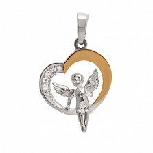 Серебряный подвес с цирконием и золотой вставкой Ангелок