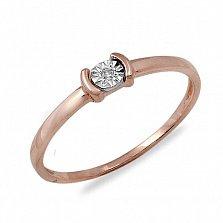 Золотое помолвочное кольцо Сонет с бриллиантом