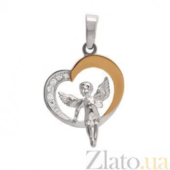Серебряный подвес с цирконием и золотой вставкой Ангелок BGS--872п