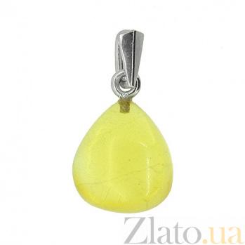 Серебряная подвеска с янтарём Желтое море 000019165
