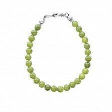 Серебряный браслет Стайлинг с зелеными нефритовыми шариками