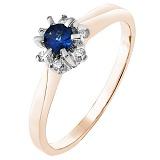Золотое кольцо Альграна в красном цвете с сапфиром и бриллиантами