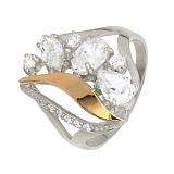 Серебряное кольцо с золотой вставкой и фианитами Бейлиз