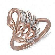 Кольцо Царевна-Лебедь из красного золота с бриллиантами
