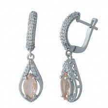 Серебряные серьги-подвески Эрин с нано морганитом и белыми фианитами