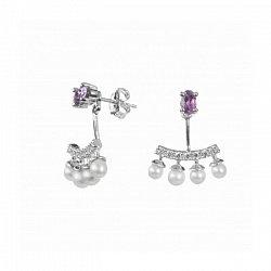 Серебряные серьги-джекеты с жемчугом, аметистами и фианитами 000098798