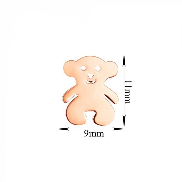 Серьги-пуссеты из красного золота Мой милый мишка 000103996