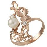 Золотое кольцо Легкость бытия с жемчугом и фианитами