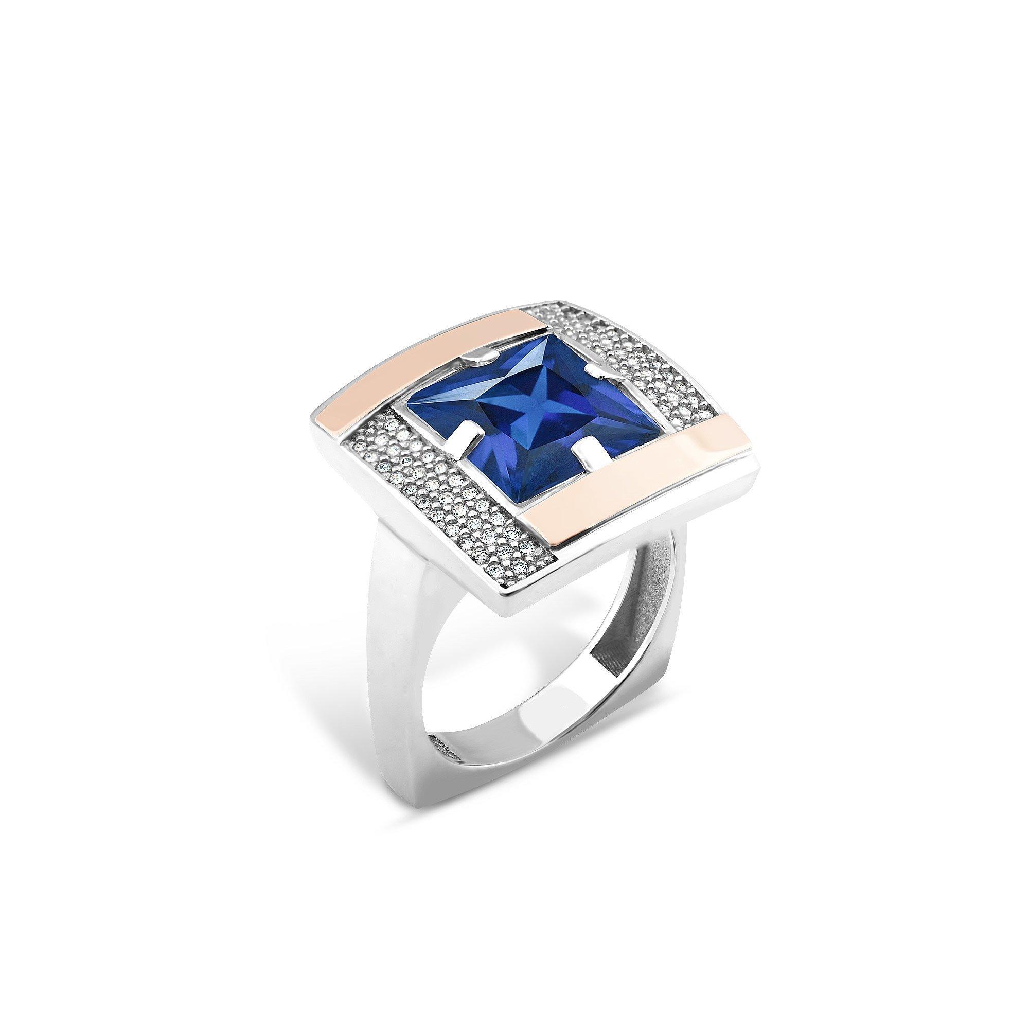 Серебряное кольцо Афина с золотыми накладками, синим альпинитом и белыми фианитами
