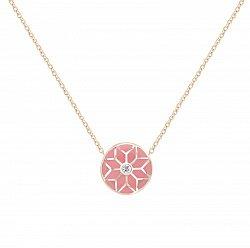 Колье из красного золота Queen с бриллиантом и розовой эмалью