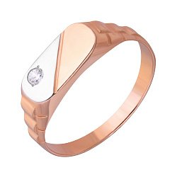 Перстень-печатка из красного золота с фианитом 000001094