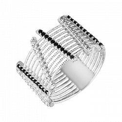 Серебряное кольцо с широкой шинкой и косыми дорожками фианитов 000102856