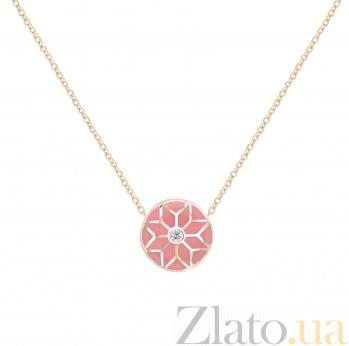 Колье из красного золота Queen с бриллиантом и розовой эмалью  000081036