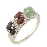Кольцо из серебра Маджеста с рубином, изумрудом, сапфиром и фианитами