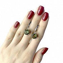 Серебряные серьги-подвески Эльми с корундом