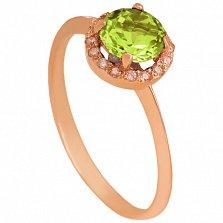 Золотое кольцо Ульса с хризолитом и фианитами